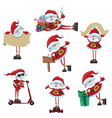 set of cartoon santa clauses collection of cute vector image