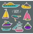 Set of water transport with white silhouettes vector image