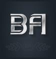 ba - initials or silver logo b and a - metallic