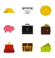 Bank and money icons set flat style vector image vector image