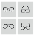 black glasses icons set vector image