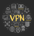 black linear virtual private network vector image vector image