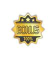 bonus circular golden medal icon isolated sticker vector image