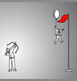 businessman trying to shoot the balloon to make vector image