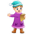 cartoon boy in winter cloth vector image vector image
