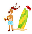 Cartoon christmas deer putting on body sun block