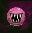 cartoon fantasy monster pink planet with giant vector image vector image