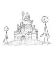 cartoon father or dad building sand castle vector image vector image