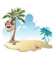 cartoon island with luggage in sea vector image vector image