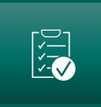 checklist icon survey in flat design on green vector image