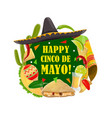 cinco de mayo holiday fiesta sombrero and poncho vector image vector image