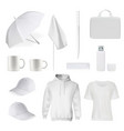 corporate branding clothes accessory item mockup vector image