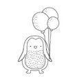 cute little penguin with balloons helium vector image