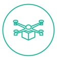 Drone delivering package line icon vector image vector image