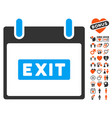 exit caption calendar day icon with lovely bonus vector image vector image