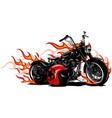flaming bike chopper ride vector image vector image