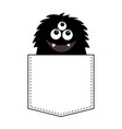 fluffy black monster silhouette in the pocket vector image vector image