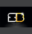 gold silver alphabet letter sb s b combination vector image vector image