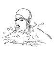 Hand sketch head swimmer vector image