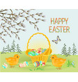 happy easter spring landscape forest easter chicks vector image vector image