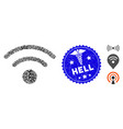 infection collage wi-fi icon with doctor grunge vector image vector image