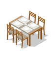 isometric dining wooden table with four chairs vector image