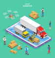 isometric flat concept smart logistics vector image