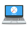 laptop computer with repair logo on screen vector image vector image