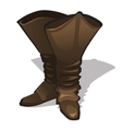 Leather high brown boots on a white background vector image vector image