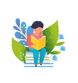 little boy reading book flat vector image