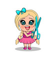 little girl with scissors in cartoon style vector image