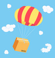 packaging box flying on parachute delivery parcel vector image vector image