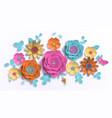 paper art summer flowers on a white background vector image