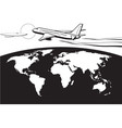 passenger airplane flying around the world vector image