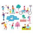 people in park activities vector image