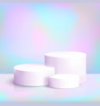 realistic white podium on iridescent background vector image vector image
