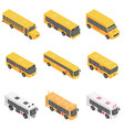school bus back kids icons set isometric style vector image