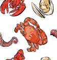 Seafood pattern hand drawing clip art vector image vector image