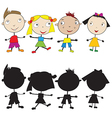 Set of doodle children and their silhouettes vector image vector image