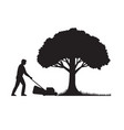 silhouette of a gardener with lawnmower or lawn vector image