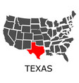 state texas on map usa vector image vector image