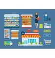 Supermarket store concept with food assortment vector image vector image