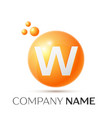 w letter splash orange dots and circle bubble vector image vector image