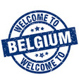 welcome to belgium blue stamp vector image vector image