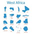 west africa - maps of territories vector image vector image