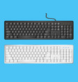 white and black computer keyboards on blue vector image