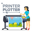 worker with plotter woman full color vector image vector image