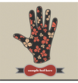 Composition with butterfly on the handprint vector image