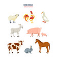 set of different farm animals on white background vector image