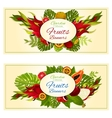 Tropical garden fresh exotic fruits banners vector image